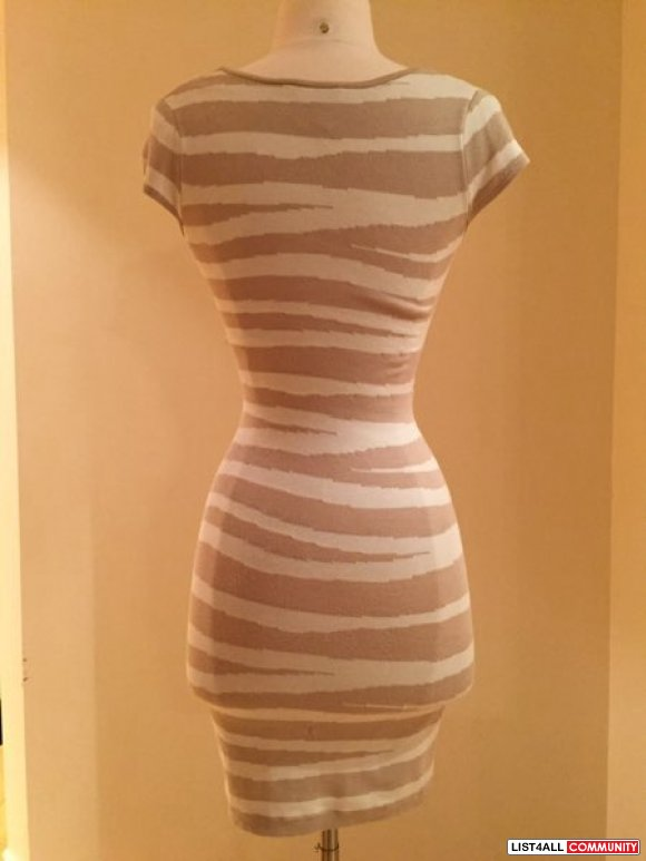 Marciano striped fitted sweater dress