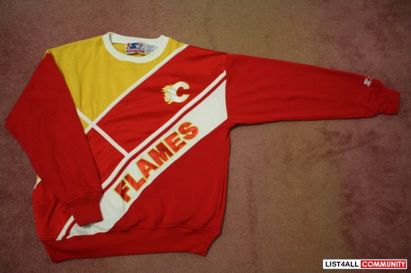 Sweaters: Vintage Calgary Flames Starter crewneck