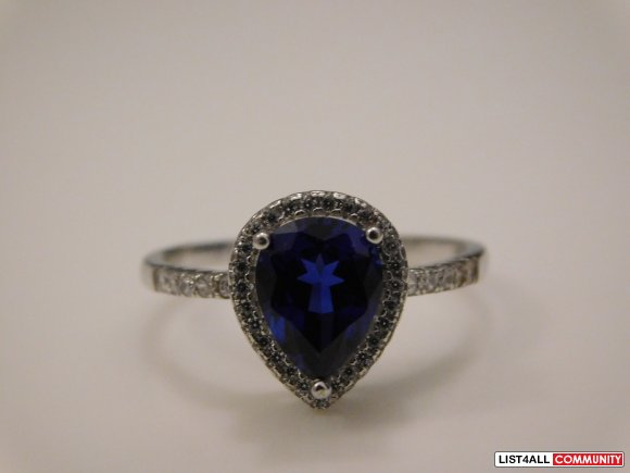 2.5 CT Lab grown genuine sapphire ring