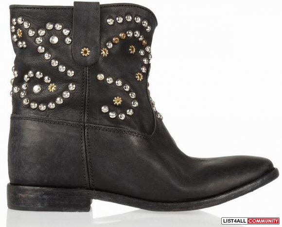 66% OFF! Isabel Marant Caleen Studded Leather Concealed Wedge Boots