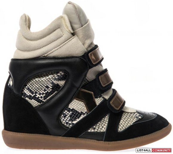 50% OFF! Isabel Marant Bonny Leather And Suede Wedge Sneakers