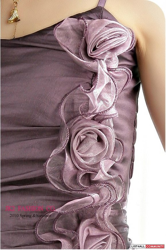 Purple Chiffon Dress with Rose Detail XS-S