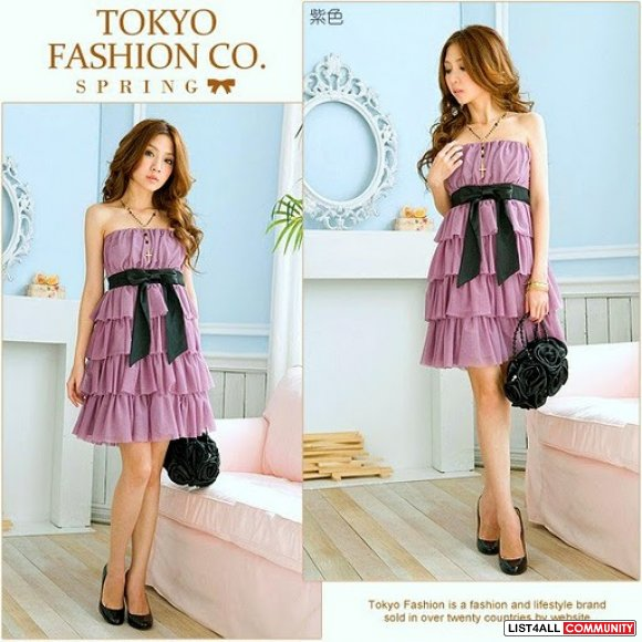 Purple Tiered Strapless Dress XS-S