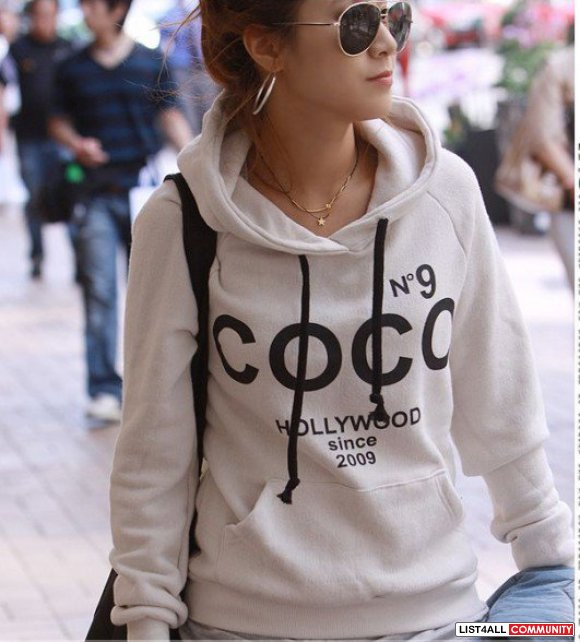 korea coco chanel hoodie hoody sweater white highclassicasia list4all. Black Bedroom Furniture Sets. Home Design Ideas