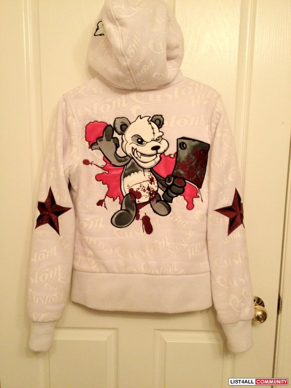 Womens White Killer Panda Deuce by Dussault Hoodie