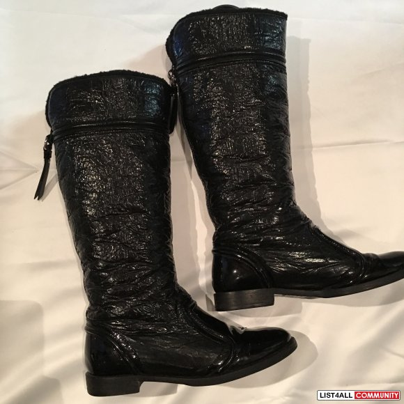 Dolce and Gabbana Patent Boots Size 38.5