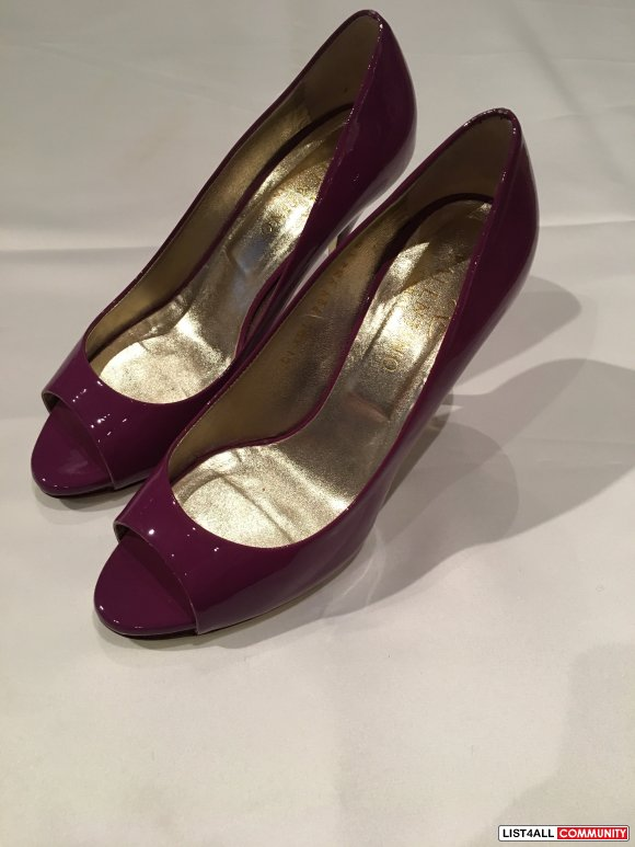 Valentino Purple Patent Peep Toe Pumps Size 38.5
