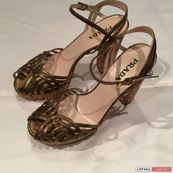 Prada Gold Shoes with Cork Heels Size 38.5