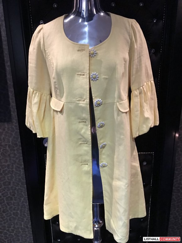 Betsey Johnson Yellow Linen Show Coat Size 10