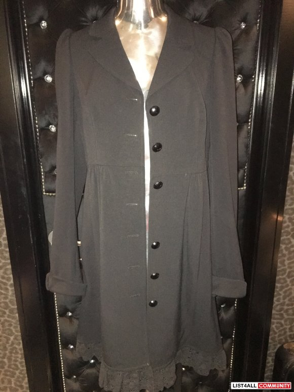 Betsey Johnson Black Show Coat with lace ruffle detail up back Size 12