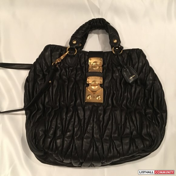 Miu Miu Black Leather Matelase Bag * Large- see description
