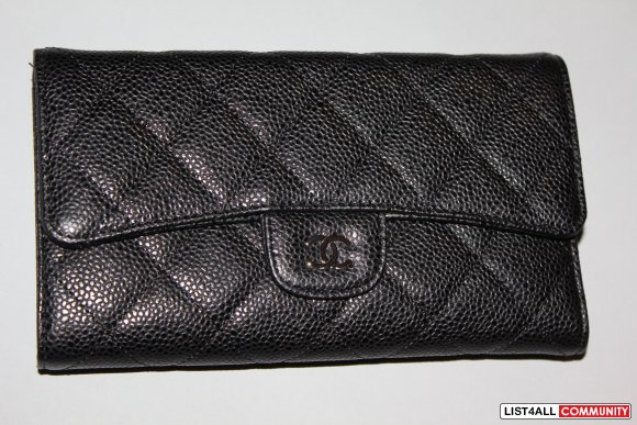 Chanel Quilted Leather Wallet in Black