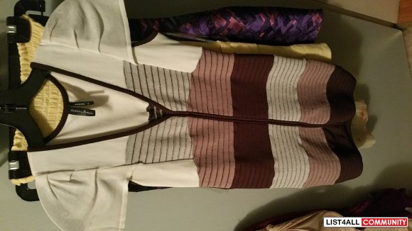 marciano xs striped bandage dress brown and white