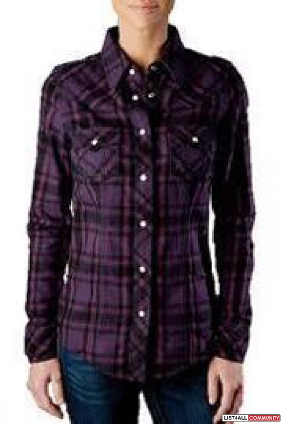 Authentic True Religion Purple Plaid Shirt