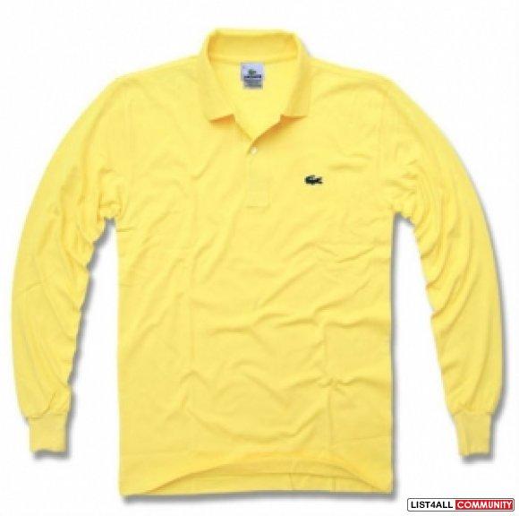 Lacoste Men Long Sleeve Polo Shirt Yellow ...