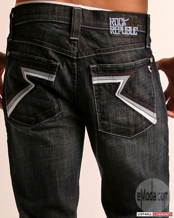 bfb64a1747 Mens ROCK   REPUBLIC Henlee Bootcut Shredding Force Jeans 34 ...