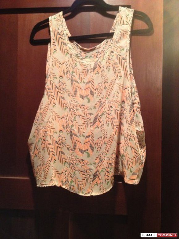 Sheer cropped tank with feather print, size small