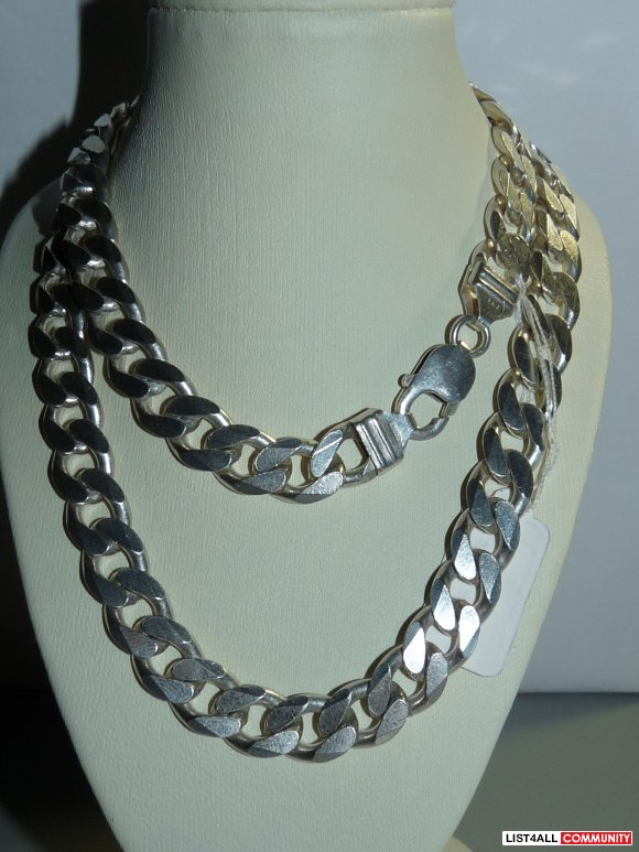 925 Silver Cuban Link Necklace Chain 22 inches