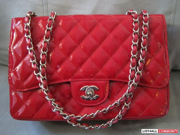 8663614e97ce Chanel Inspired Bag Jumbo Patent Red Chain Bag NEW :: bagsale ...