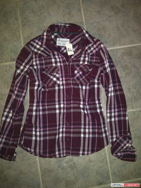 Pink long sleeve button up aeropostale shirt size MEDIUM