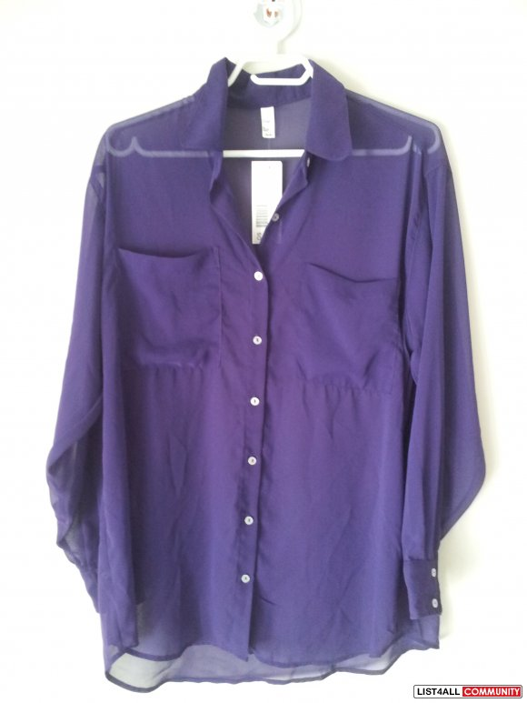 American Apparel - Chiffon Oversized Button - Up Long Sleeves