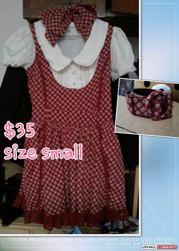 cute red white lolita dress size small to xs