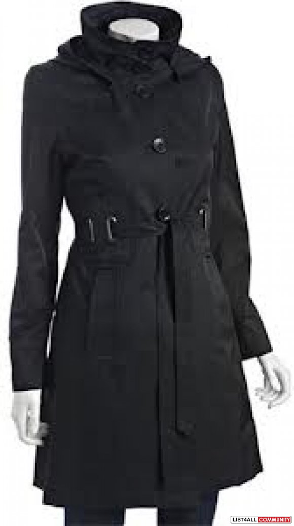 Via Spiga Hooded Trenchcoat Midnight Xsmall
