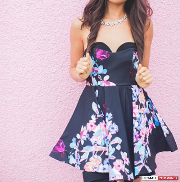 Black Floral A-Line Strapless HomeComing Dress, Sizes XS-L