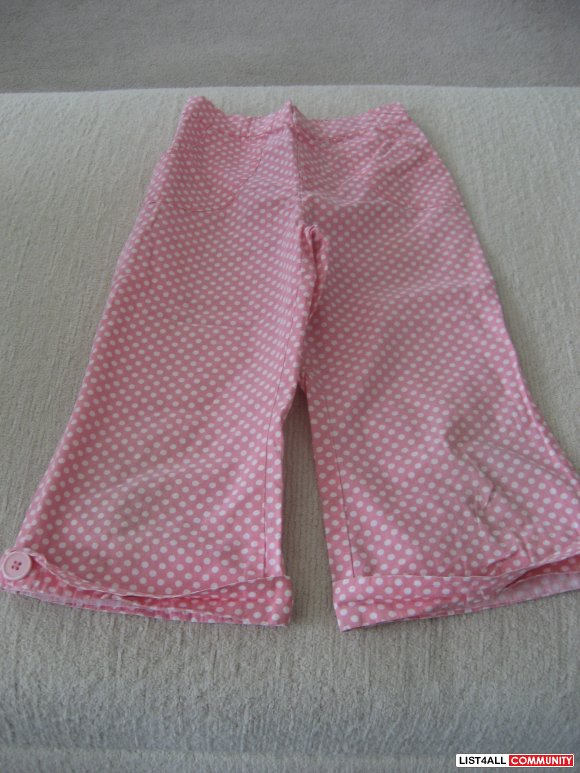 Cherokee Adorable Pink with White Polkadots Capri Pants - size 6X