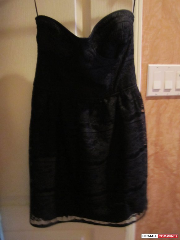 Black zara strapless lace dress