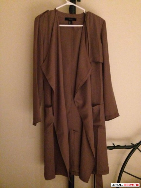 SOLD-Forever 21 silky trench coat size small.