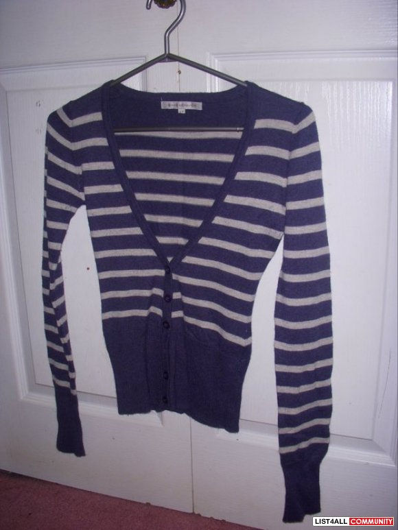 Navy and white striped cardigan [SALE $6}