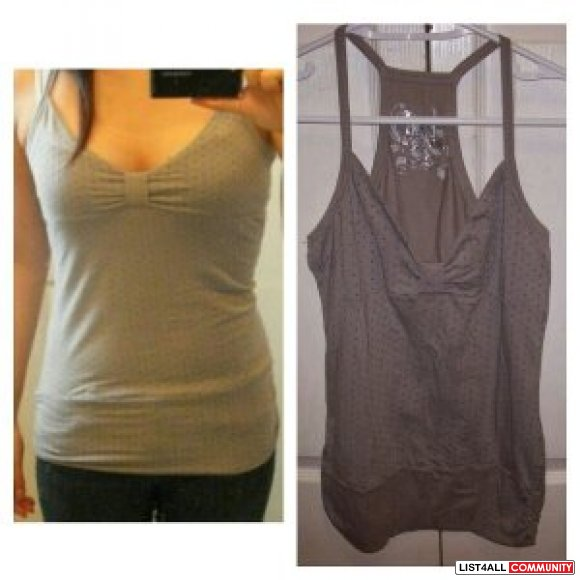 Grey tank with colorful polka dots