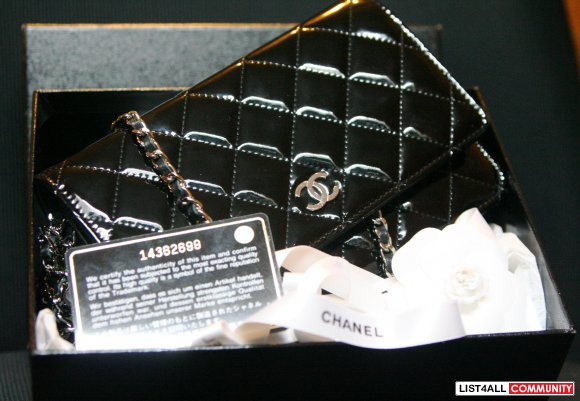 94d11cf95aa25b Authentic Chanel patent leather black wallet on chain :: smartsale89 ...
