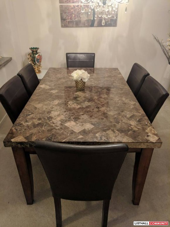 Marble Dining Table for 6 - $400