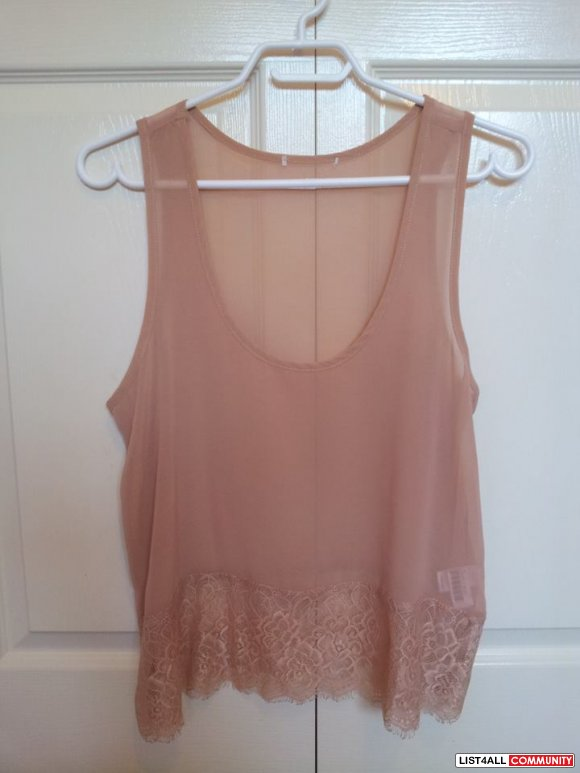 Costa Blanca sheer top with lace sz S