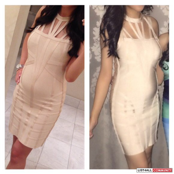 BEBE cream bandage dress size M price drop!