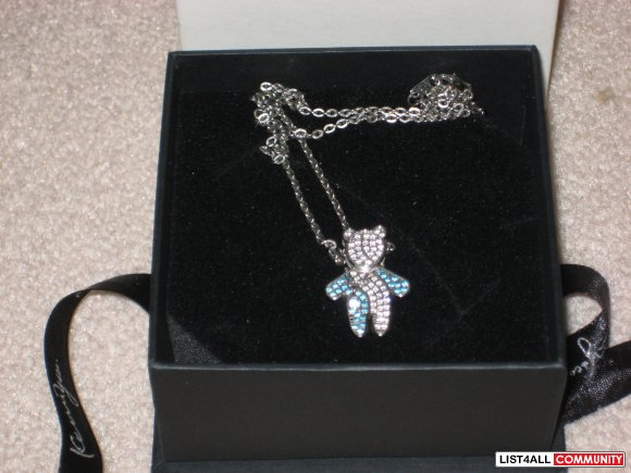 Kenny & Co. March Birthday Bear Necklace