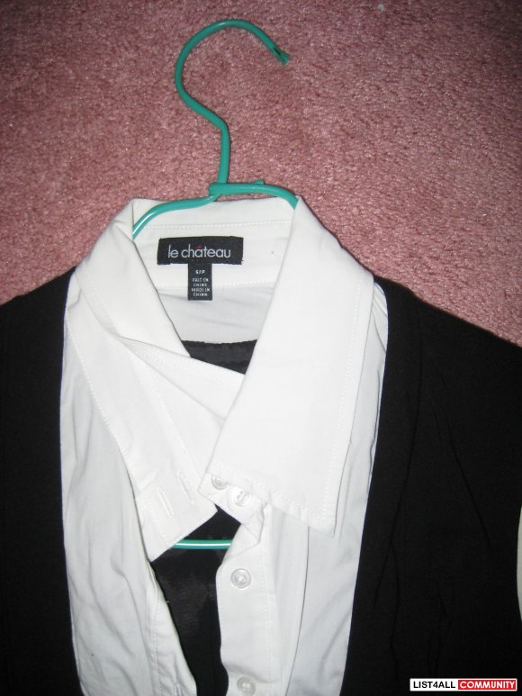 Le Chateau Black/White Shirt with Belt (Brand New)