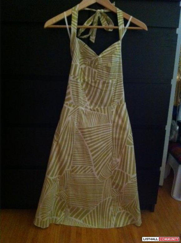 Olive and Ivory Halter Dress Size S or M