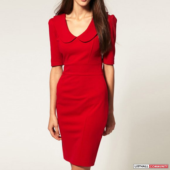 Peter Pan Collar Bodycon Dress Red (DIFFERENT SIZES AVAILABLE)