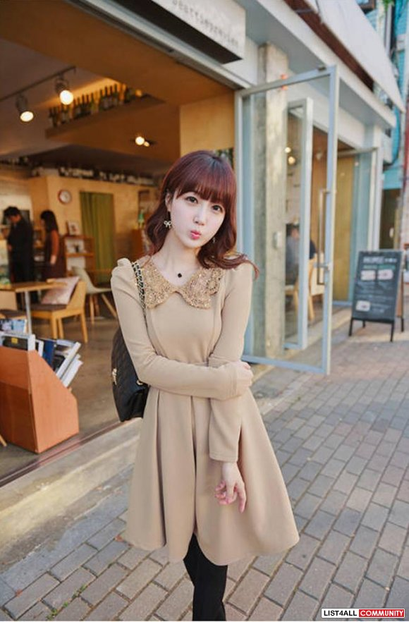 Vintage Style Long Sleeve Beige Dress **SIZES AVAILABLE