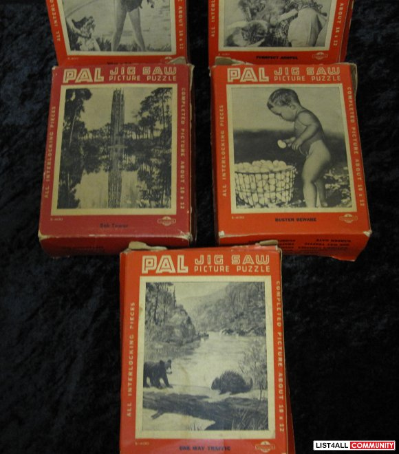 Vintage group of 6 Jig Saw Puzzles