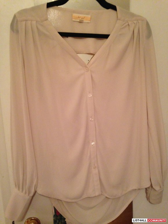 Lost April Nude Button Up Blouse