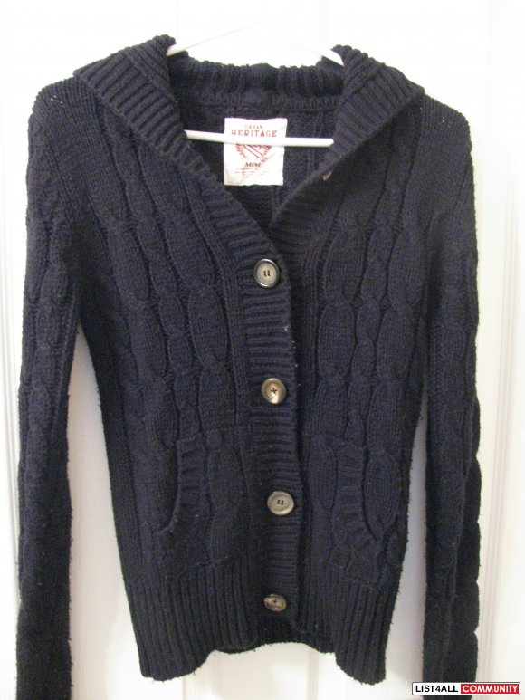 Urban Heritage Knit Hooded Cardigan Size M