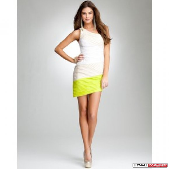 NWT! Bebe Chartreuse asymetrical dress