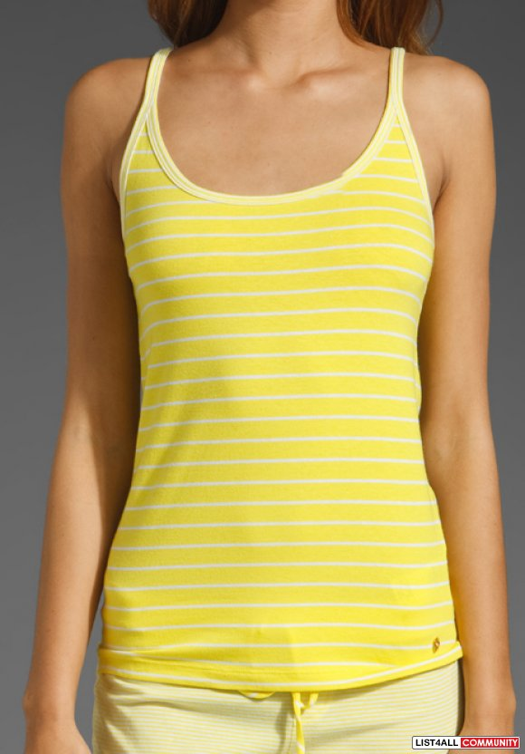 Juicy Couture Stripe Tank in Squeezed Lemon Combo