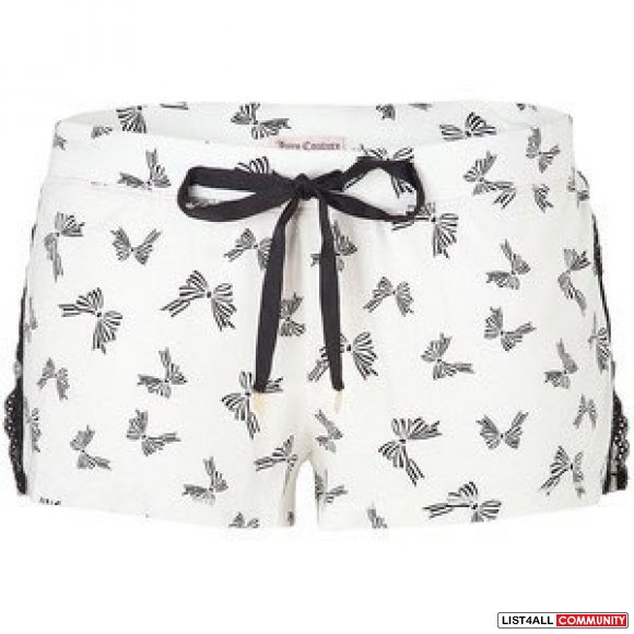 JUICY COUTURE Angel White Bow Print Tap Short