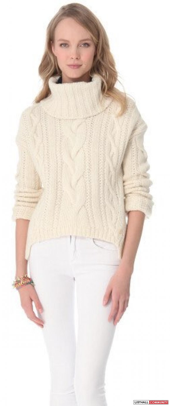 Juicy Couture White Chunky Cable Turtleneck Sweater