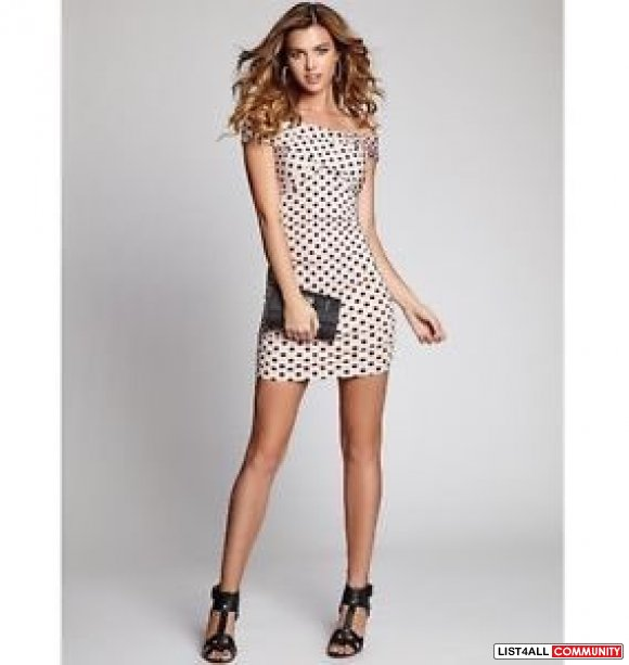 Guess OFF-THE-SHOULDER POLKA-DOT BODY-CON DRESS